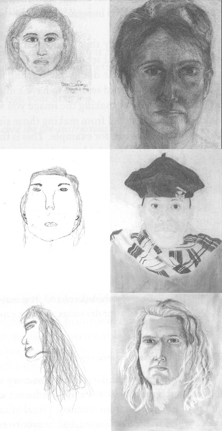 Columna Izquierda: Autorretratos de los estudiantes el primer día de clase. Columna Derecha: autorretrato de los estudiantes el 5º día de clase.