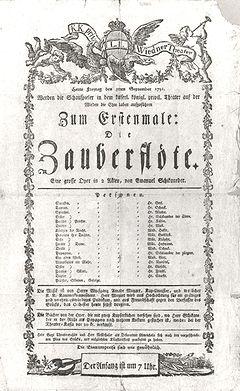 """Cartel del Estreno de """"Die Zauberflöte"""" el 30 de Septiembre de 1791"""