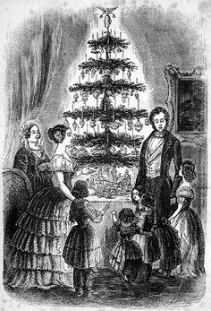 Retrato de la Reina Victoria y del Príncipe Alberto; con su familia alrededor de un árbol de Navidad en el Illustrated London News, 1846.