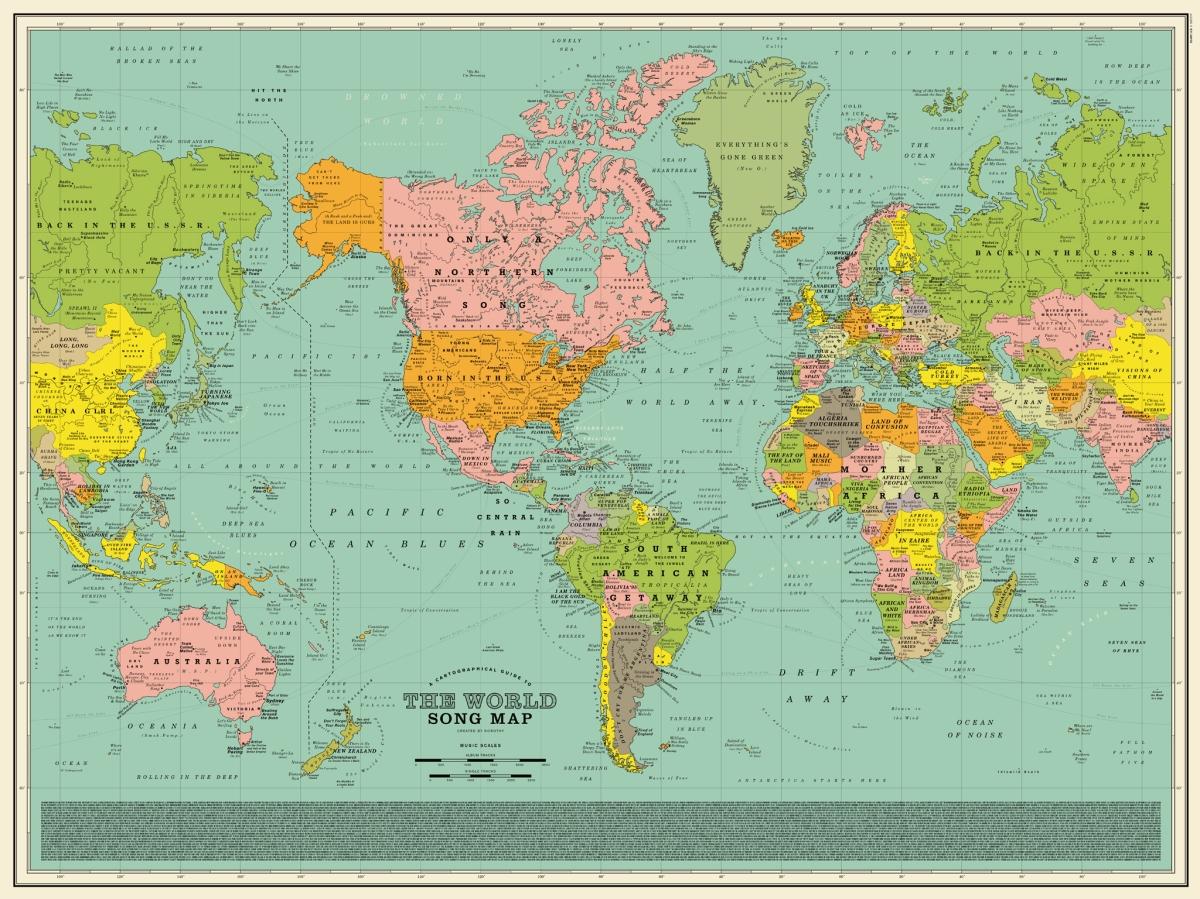 Cada uno de los nombres de este fascinante mapamundi es una referencia musical