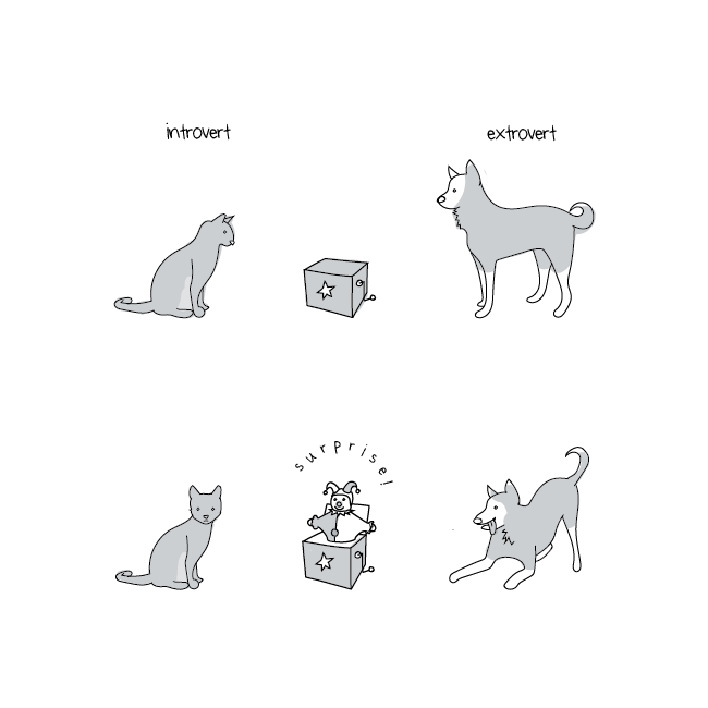 Reacción de un@ introvertid@ y un@ extrovertid@ ante una sorpresa.