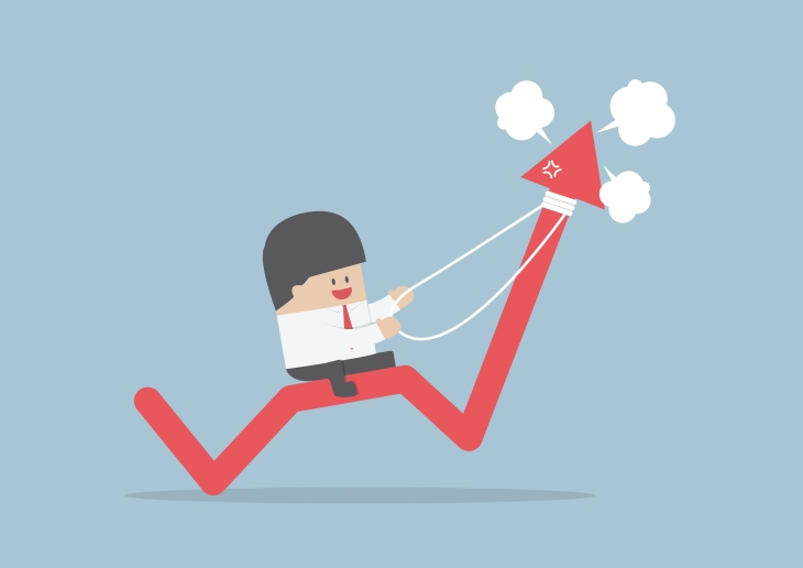 Businessman riding on angry stock market graph, VECTOR, EPS10