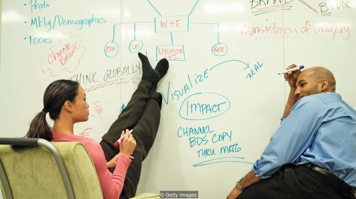 En casi todas las compañías tecnológicas, la pizarras bancas aún son el método dominante para estimular la creatividad y la colaboración.