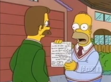 Homer le demuestra a Flanders que ha demostrado matemáticamente que Dios no existe.