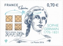 Sello conmemorativo del 240 aniversario del nacimiento de Sophie Germain